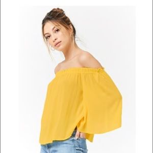 NWT Yellow Off the Shoulder Top